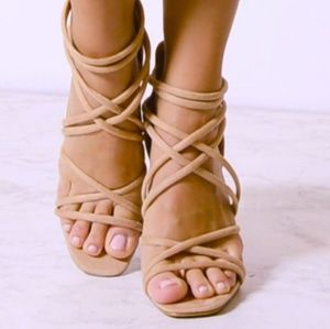 🆕️Marc Fisher Nude suede strappy heeled sandals